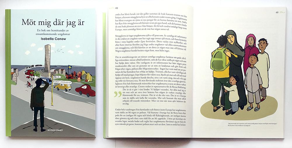 """Formgivning och illustrationer av boken """"Möt mig där jag är"""" av Isabella Canow, Skyddsvärnet, Stockholm, 2016. Boken handlar om bemötande av ensamkommande barn- och ungdomar i Sverige."""