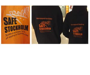 Logga på jackor som bärs av Trygghetsvärdar i Sthlm city