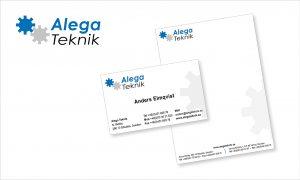 Grafisk profil och logga till Alega Teknik. Visitkort, korrespondenskort mm