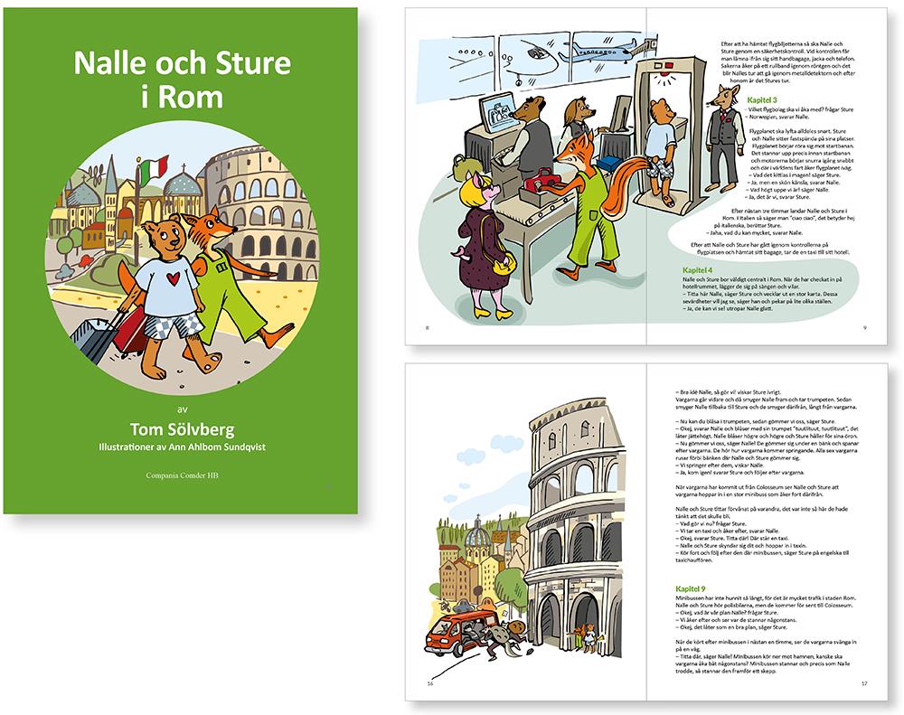 """Formgivning och illustrationer av boken """"Nalle & Sture i Rom"""" av Tom Sölvberg"""